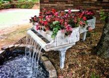 Piano waterfall acts as flowerbed