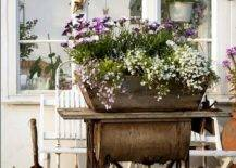 Planter on top of vintage sewing machine