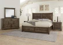 Queen rustic leather bed with footboard storage