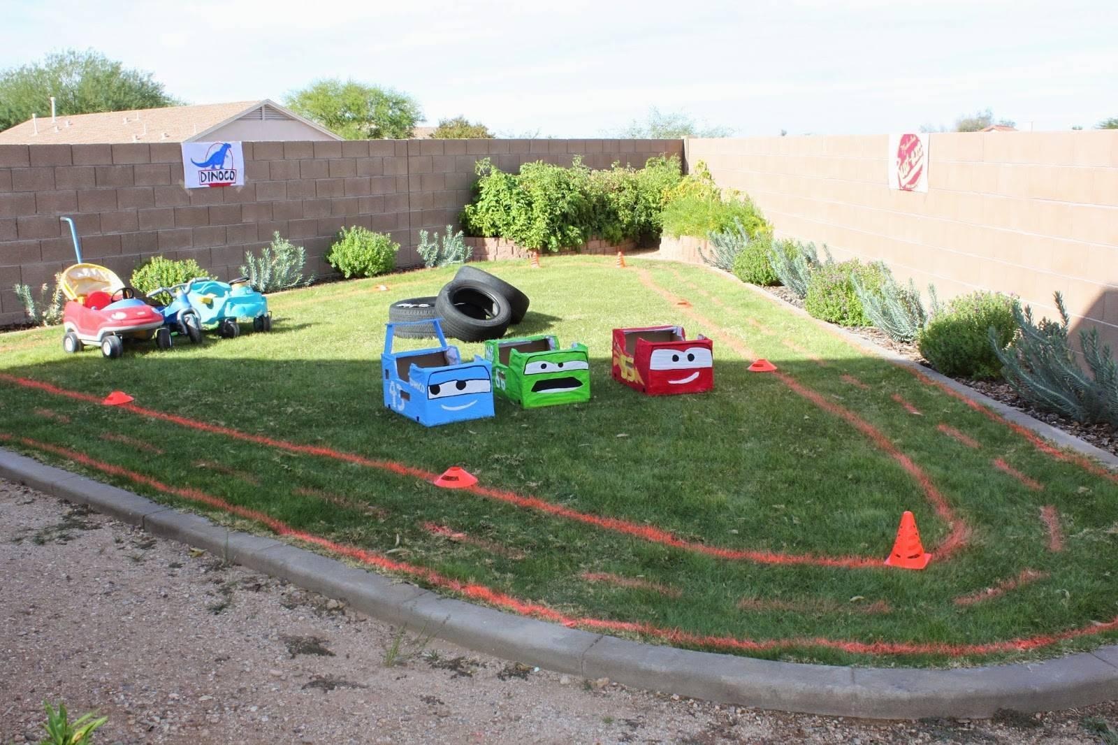 Race track on grass