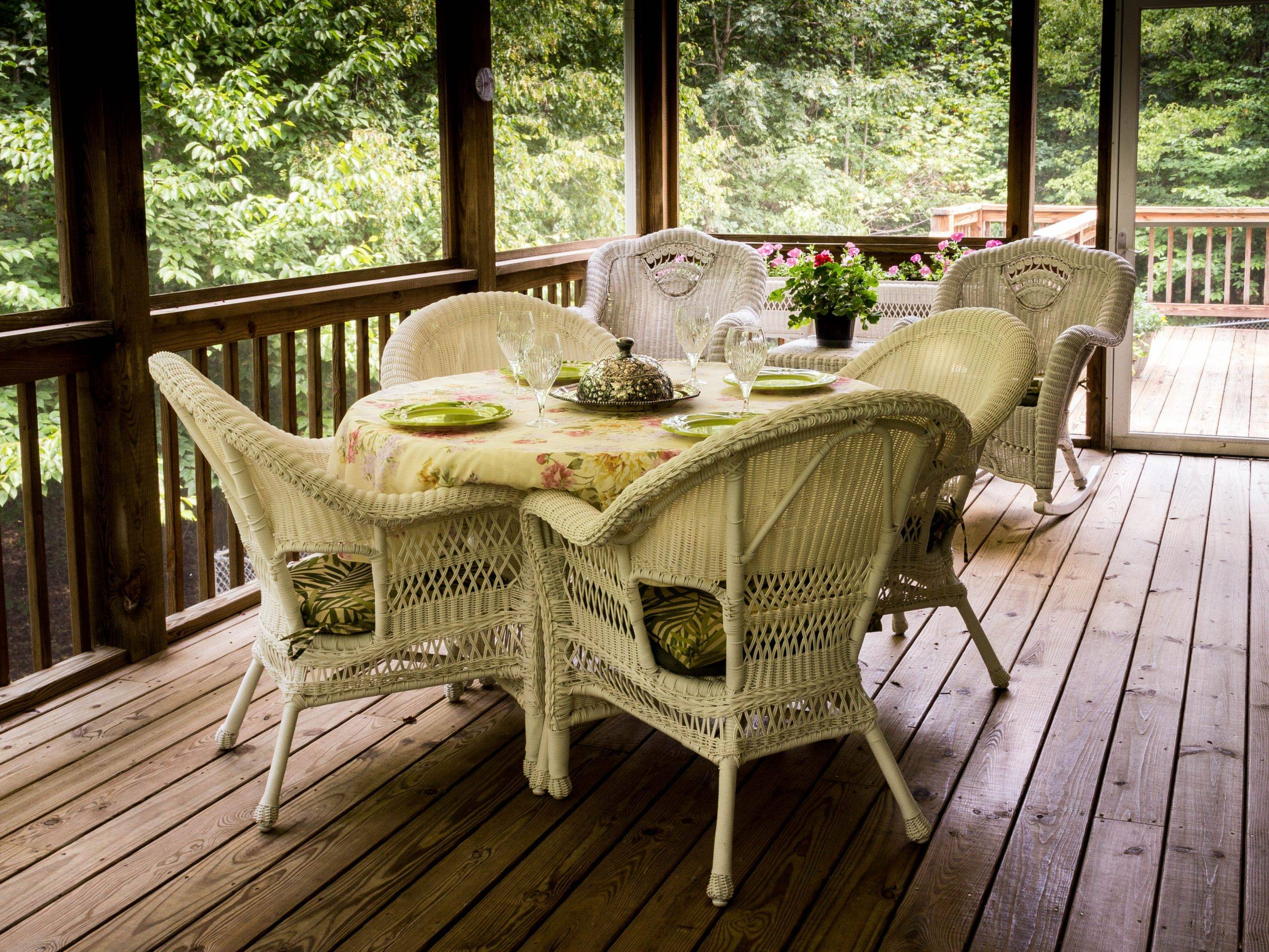 Rattan dining set in a patio