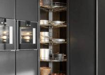 Revolving shelves with kitchenware