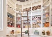 Round pantry with ladder and chandelier