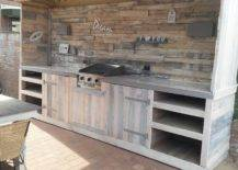 Rustic Outdoor Kitchen with Stone Backdrop