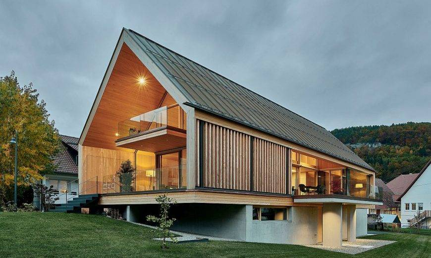 Spacious Wooden Home with Gabled roof in Wood, Concrete and Glass