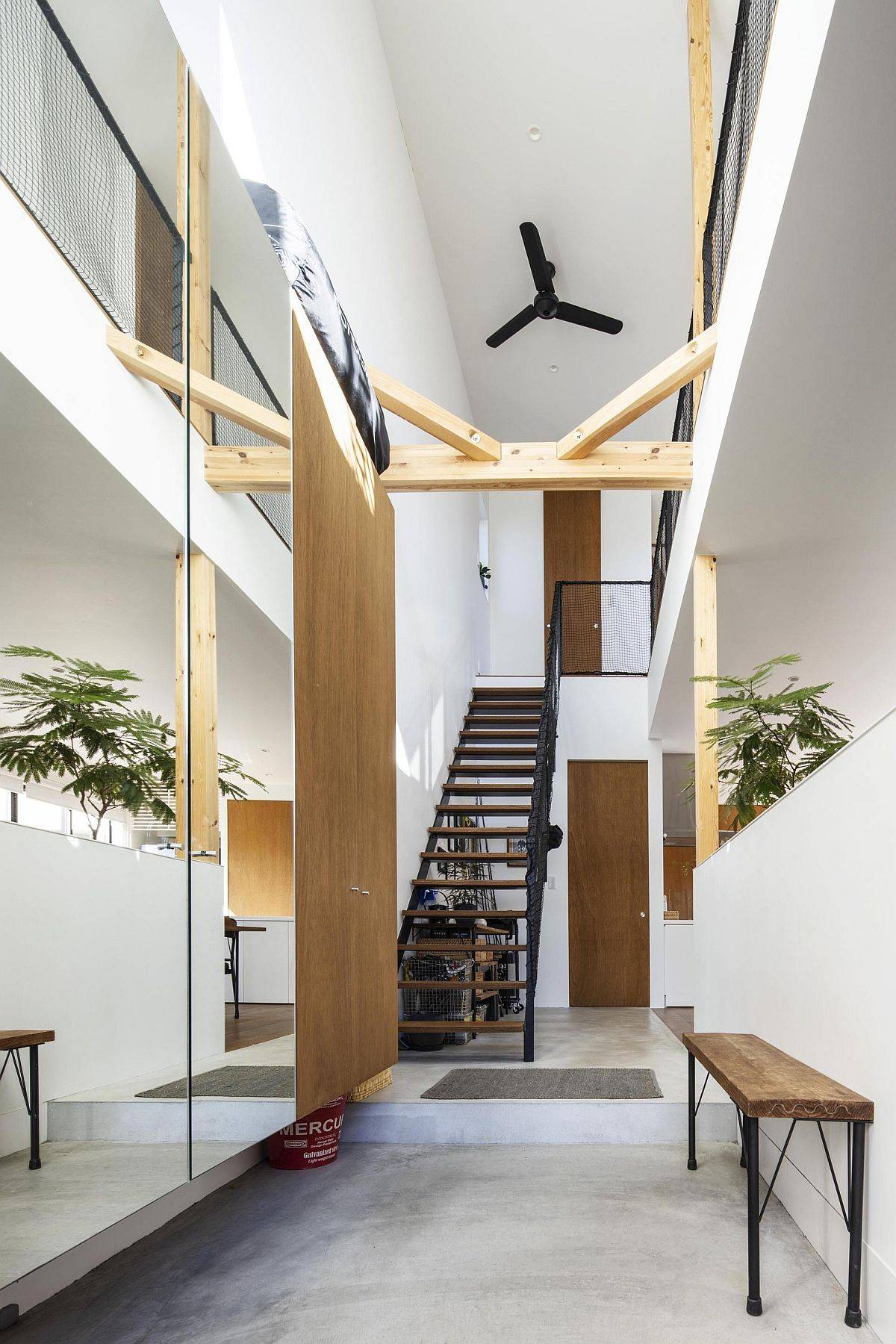 Spacious double-height entrance and interior of the modern Japanese home