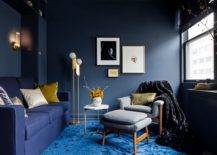 Stunning-contemporary-living-room-with-dark-bluish-gray-walls-blue-carpet-and-dark-blue-sofa-is-an-absolute-visual-treat-25305-217x155