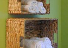 Tiered Towel Baskets on Wall