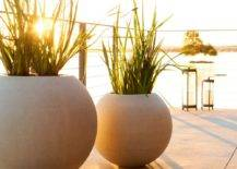 Two large sphere pots with green plants