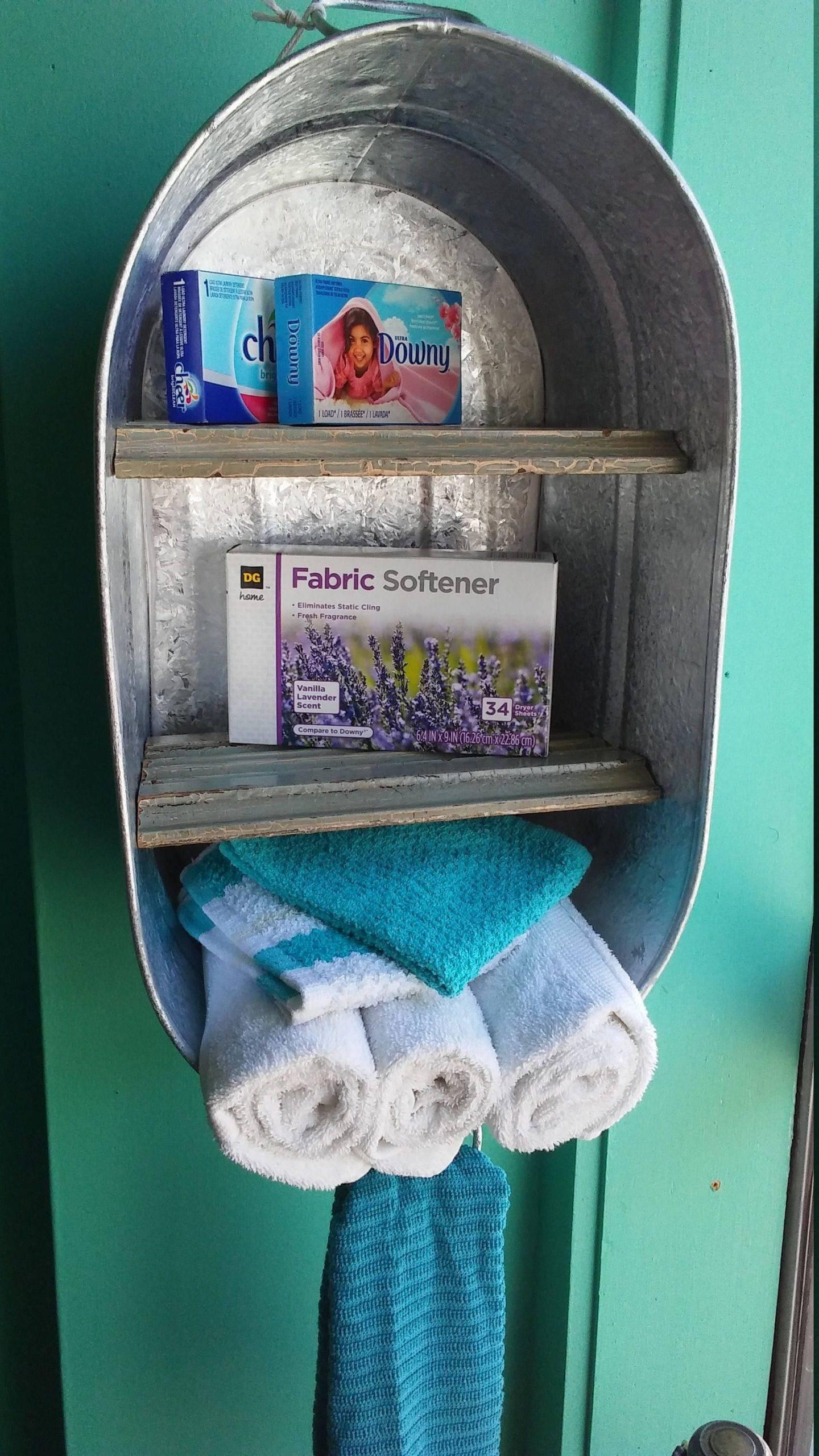 Upcycled Washtub Towel Storage