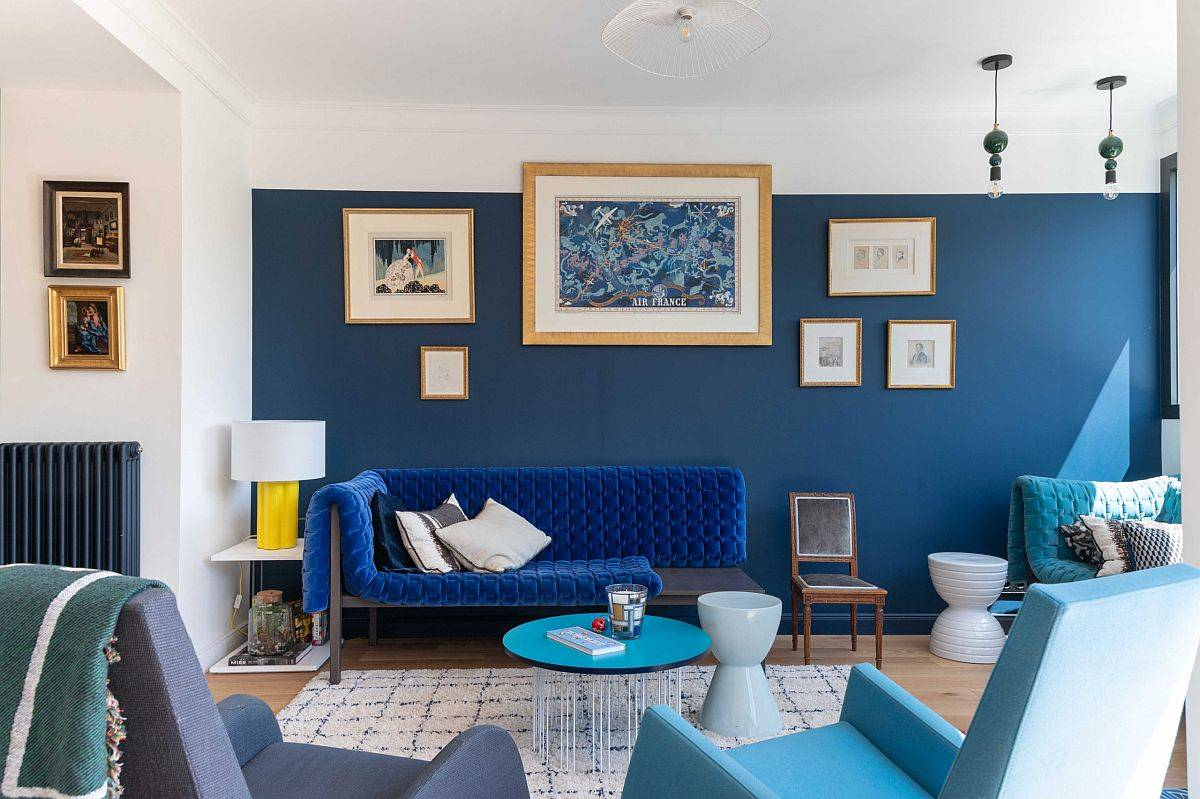 Urbane contemporary living room in white and bright blue