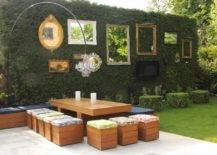 Vintage mirror wall facing outdoor table and chairs
