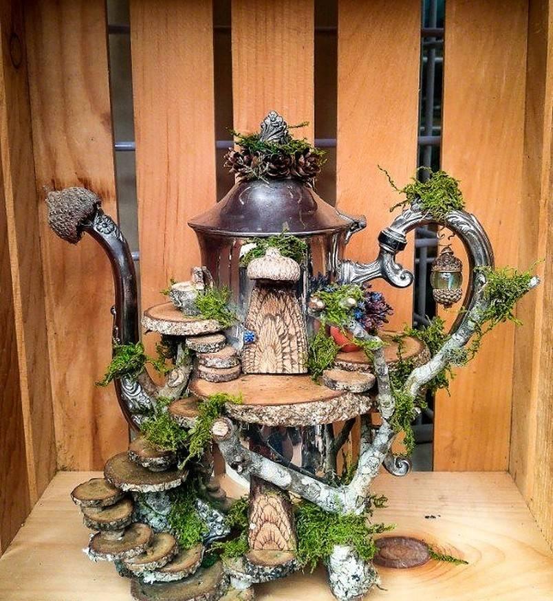 Vintage silver tea pot fairy garden
