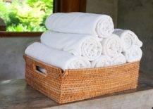 Wicker Basket Rolled Towels Storage