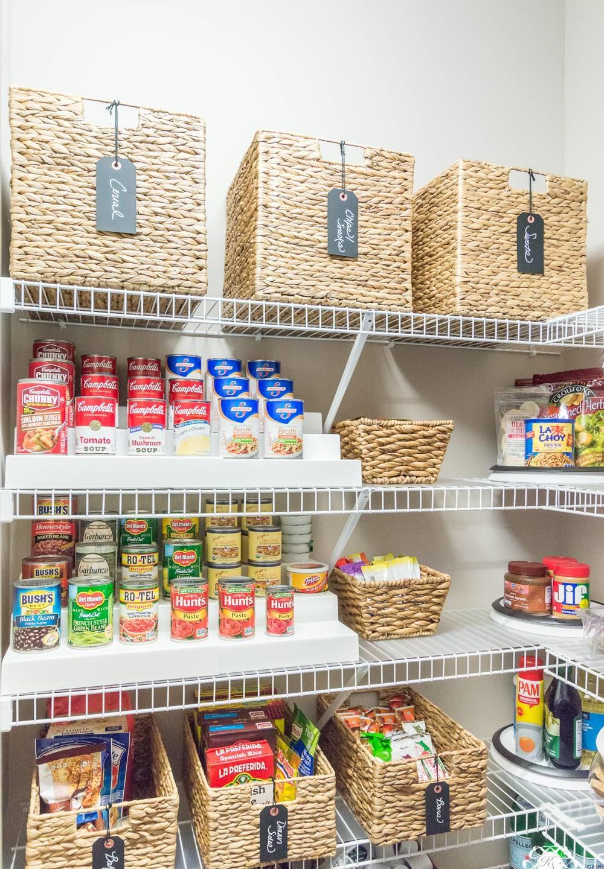 Wicker baskets and racks inside a pantry