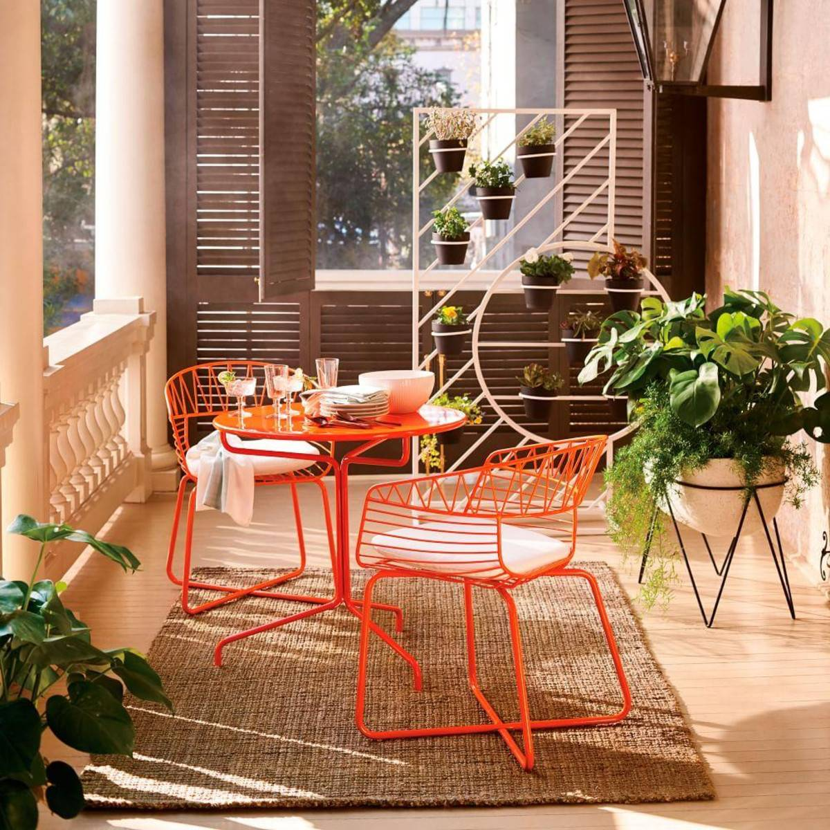 Orange Patio Bistro Dining Set Outdoor Colorful Porch Accent Furniture