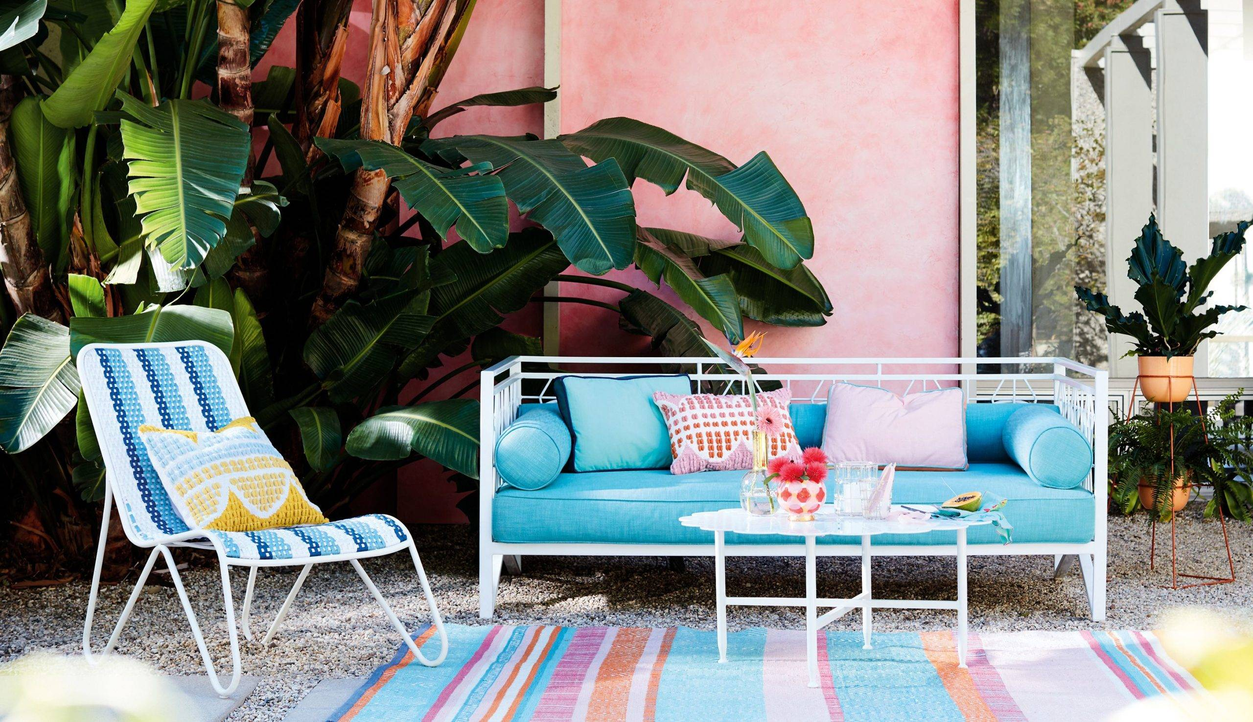 Bright Blue Day Bed Patio Decor Anthropologie Outdoor Striped Rug Pink Walls Color