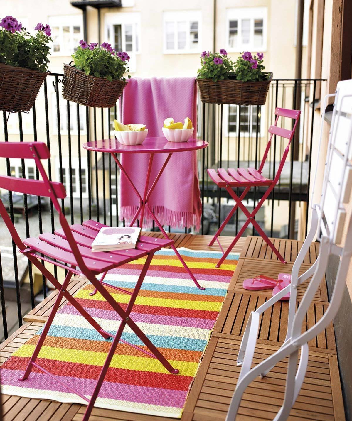 Modern Colorful Colourful Bright Patio Balcony Small Space Solution Pink Decor