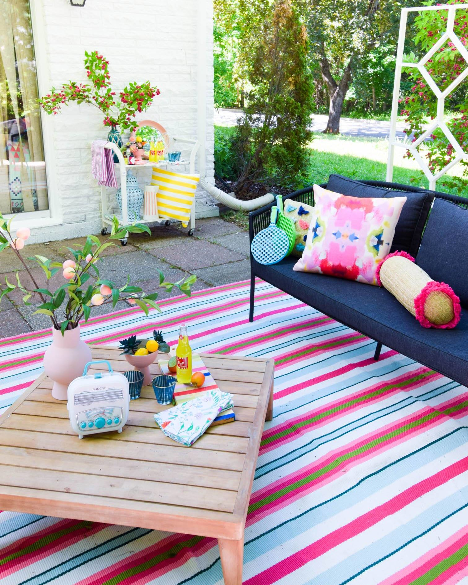 Pink and Green Striped Outdoor Area Rug Chic Patio Furniture Crate Table