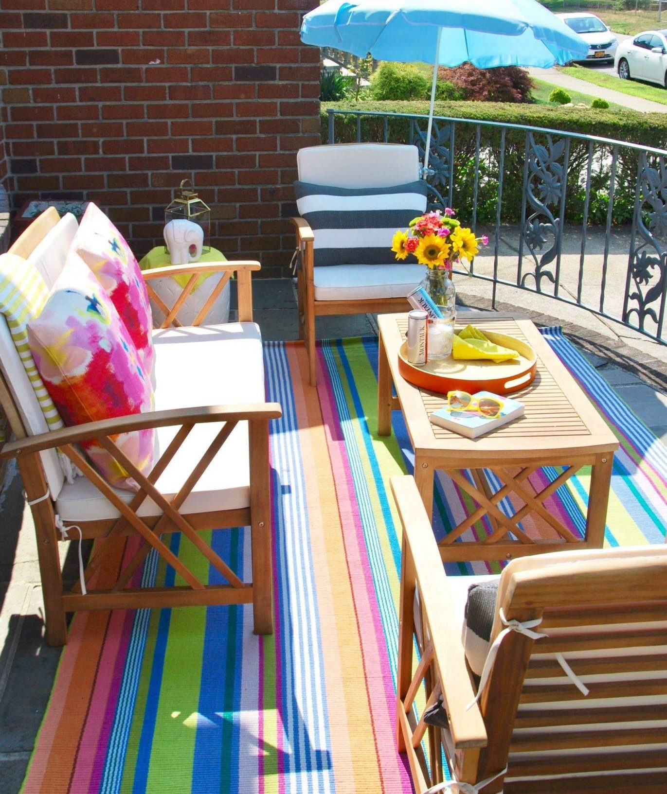 Bright Colorful Rainbow Outdoor Balcony Patio Stripe Area Rug Decorative Throw Pillows