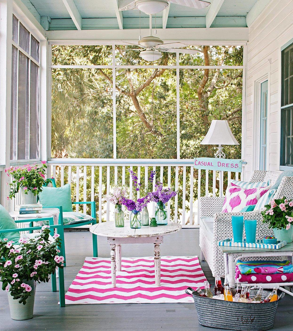Modern Country Rustic Chic Porch Tiffany Blue Teal Aquamarine Sunroom Pink Chevron Area Rug