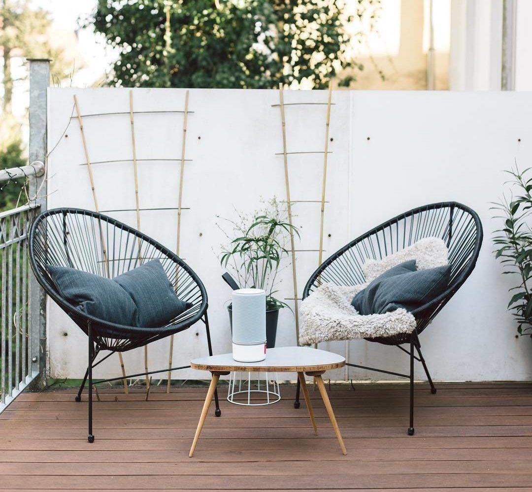 Acapulco Black Wicker Statement Accent Patio Chair Outdoor Decor Modern Oblong Coffee Table