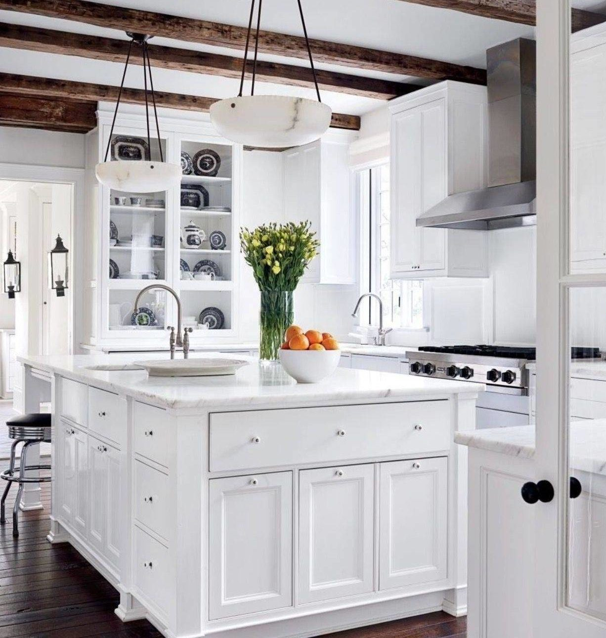 Modern Clean White Farmhouse Inspired Rustic Decor Kitchen