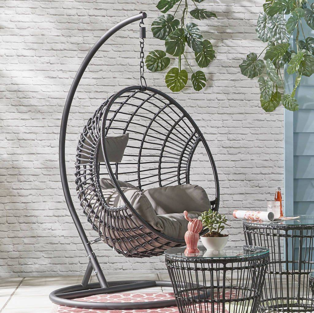 Hanging Suspended Egg Chair Patio Seating Lowes Modern Outdoor Lounge Chair