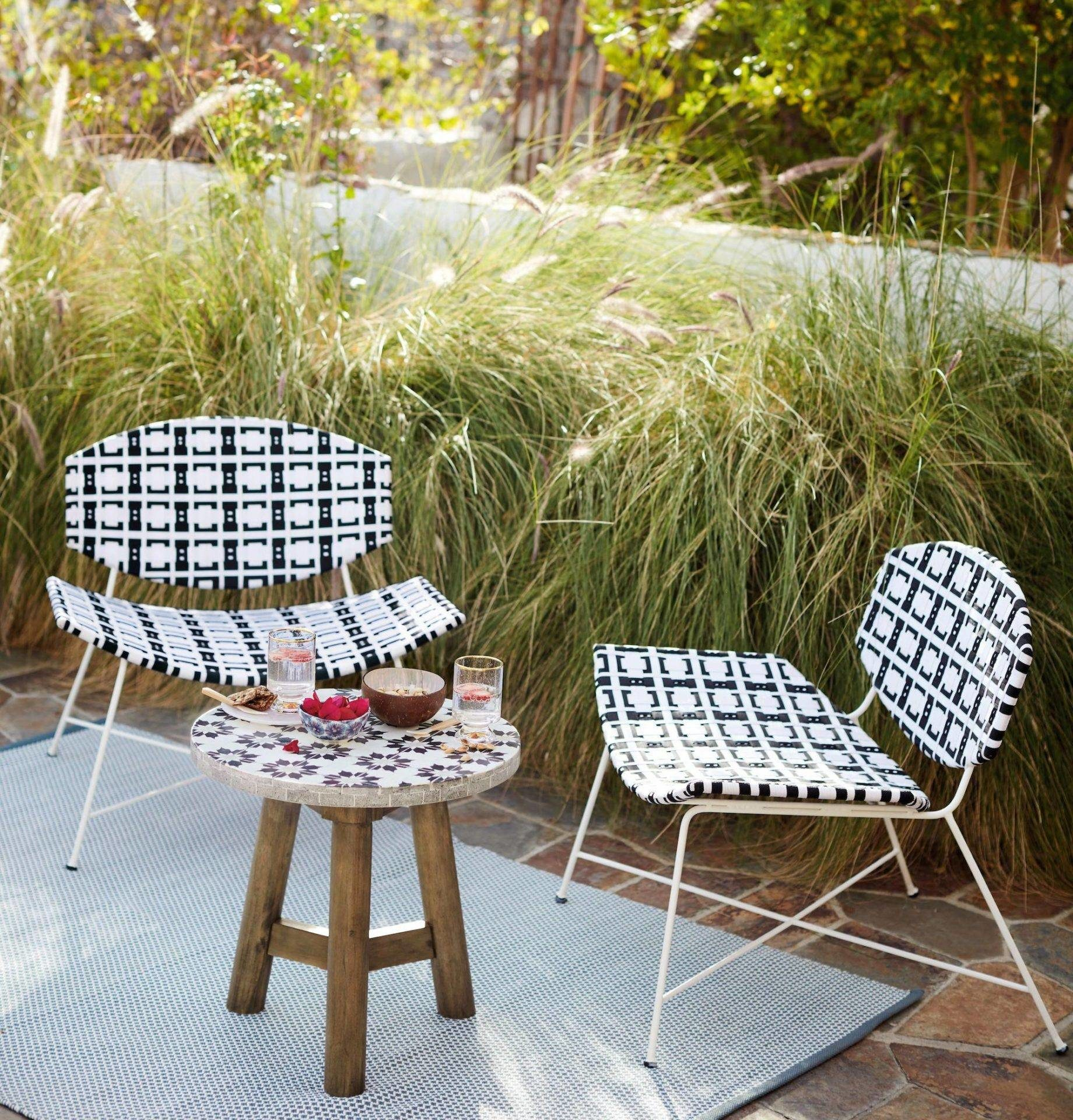 Decorative Pattern Chairs Statement Chair Anthropologie Patio Seating Black and White Bistro Set