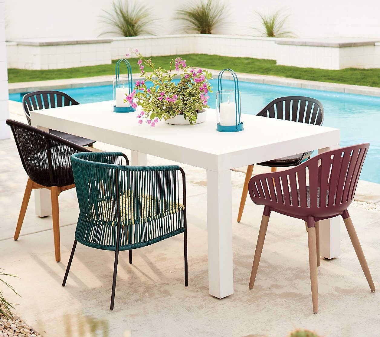 Modern Outdoor Patio Dining Chair Mid Century Chic Statement Chair White Table
