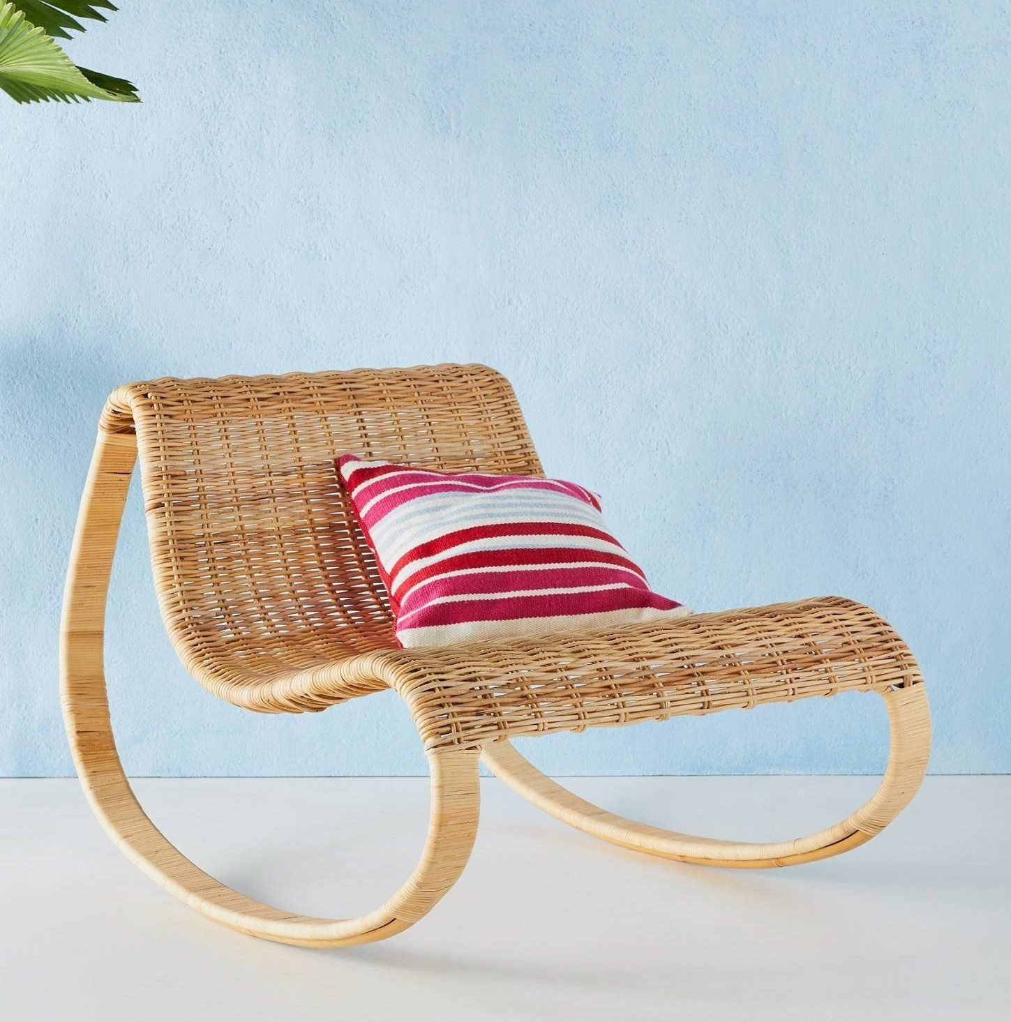 Wicker Rattan Curved Rocking Chair Bohemian Patio Outdoor Seating
