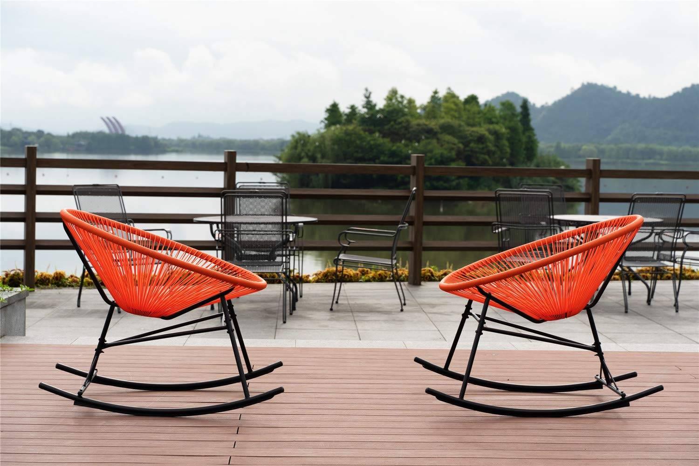 Orange Acapulco Rocking Chairs Patio Statement Decor Outdoor