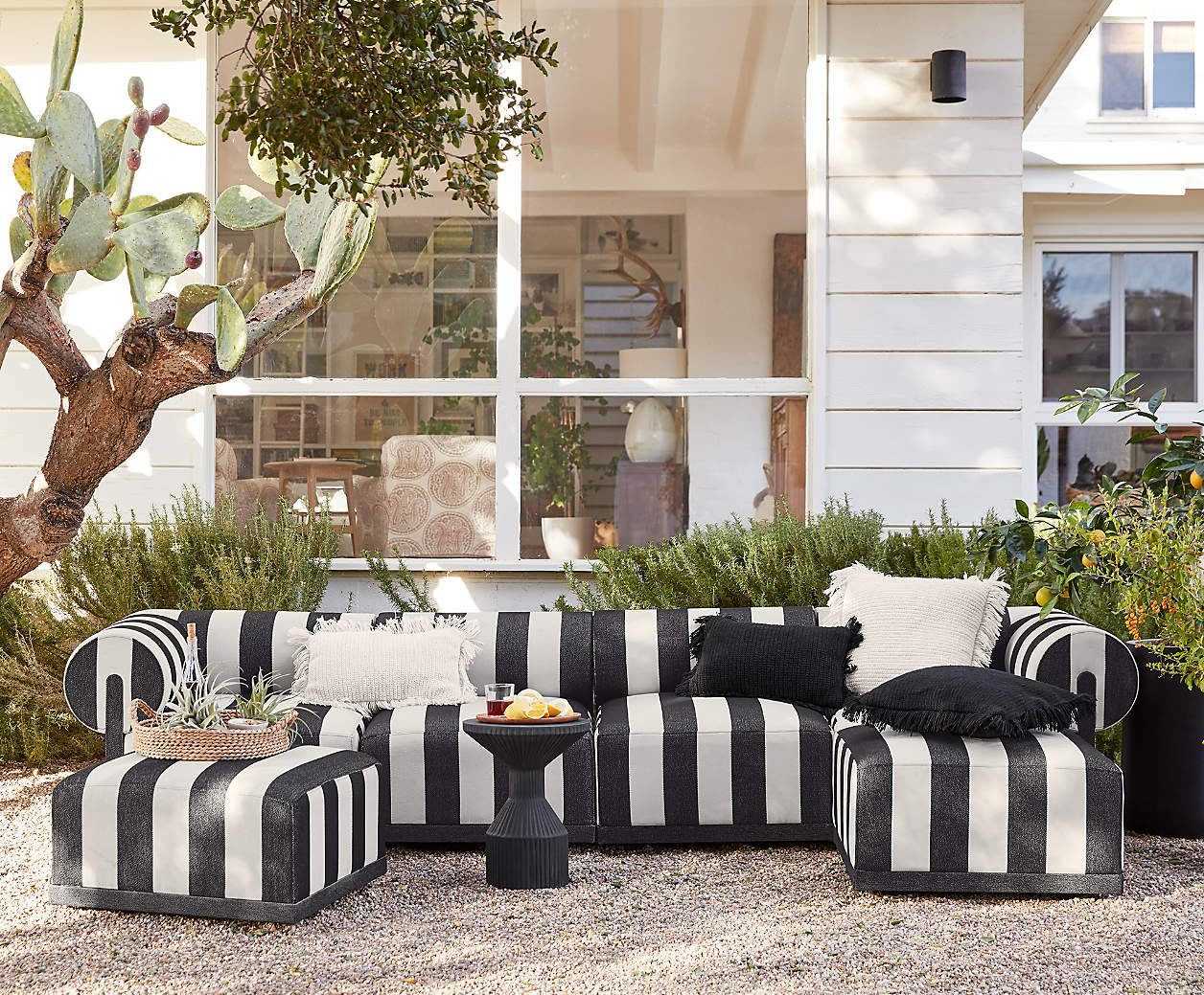 Crate and Barrel Comfy Outdoor Lounge Seating Ottoman and Sectional Chair Sofa Black White Striped
