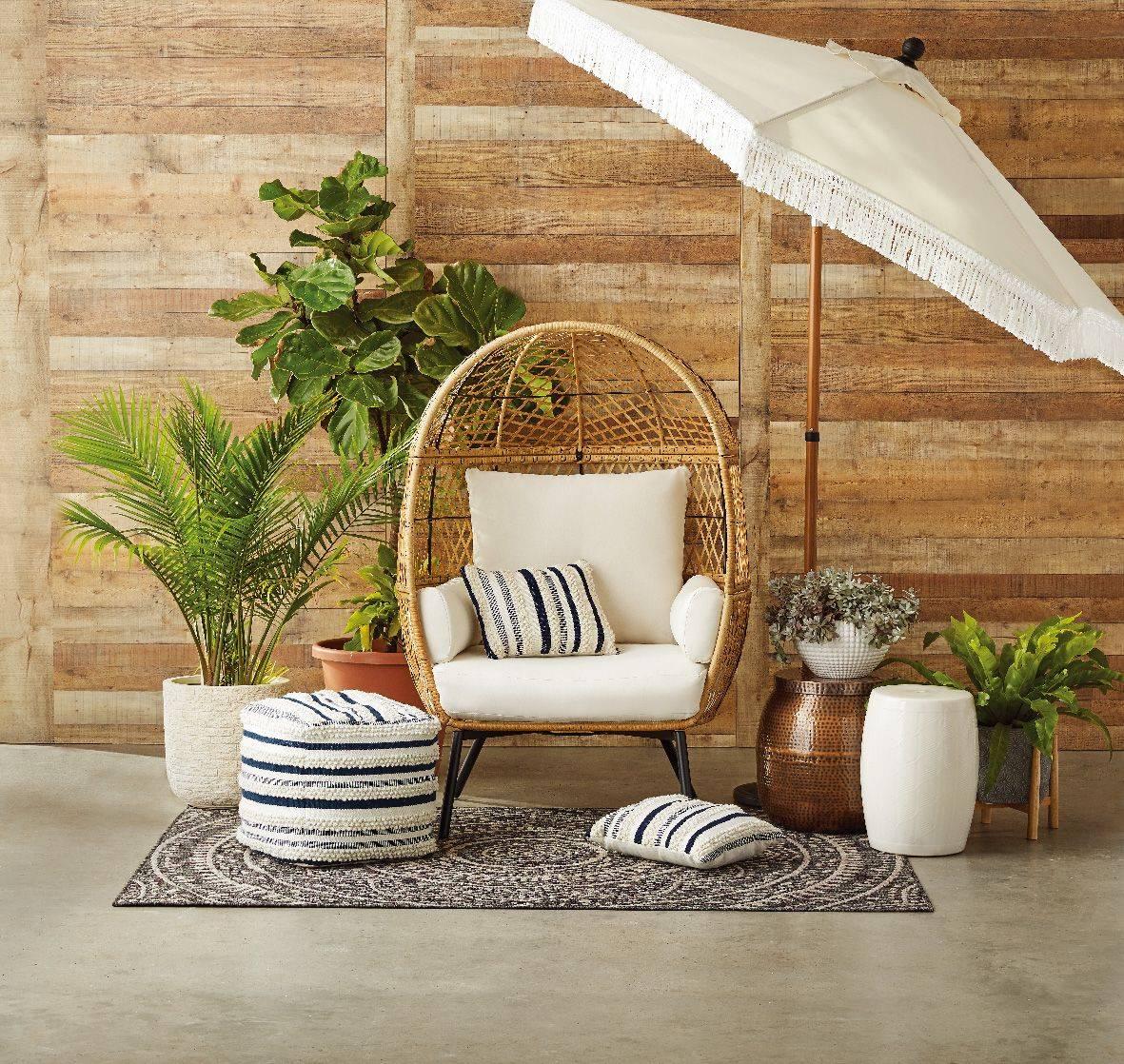 Egg Chair Wicker Bowl Seat Canopy White Umbrella Walmart Patio Outdoor Pouf