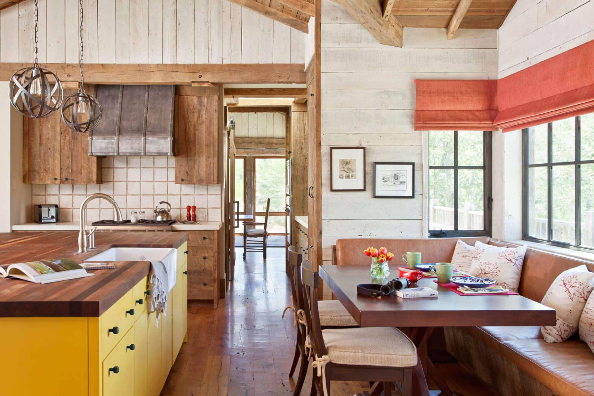 Bright Country Rustic Theme Kitchen Wood Features