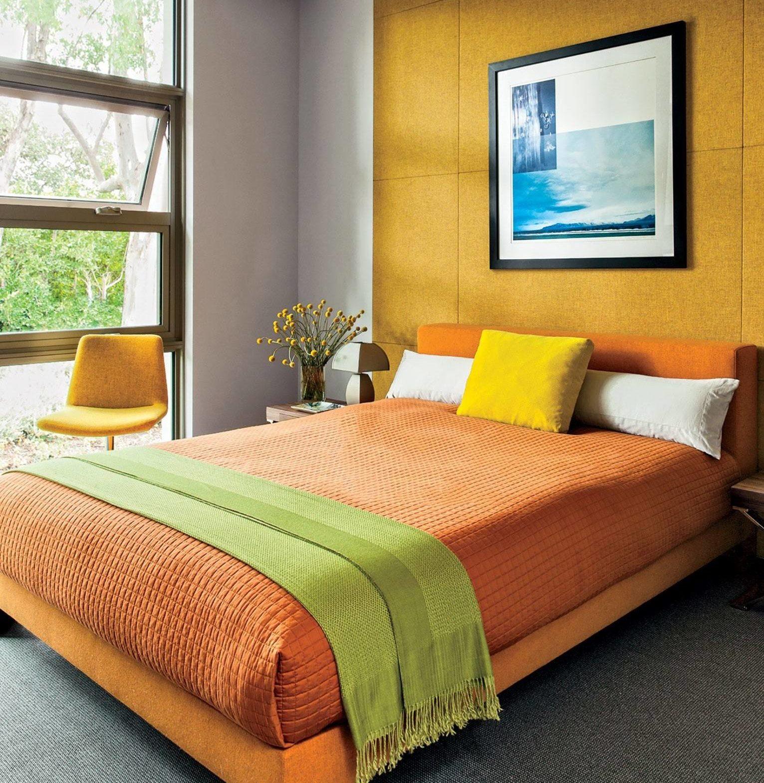 Bright Terra Cotta Colorful Bedroom Bold Yellow Orange Palette