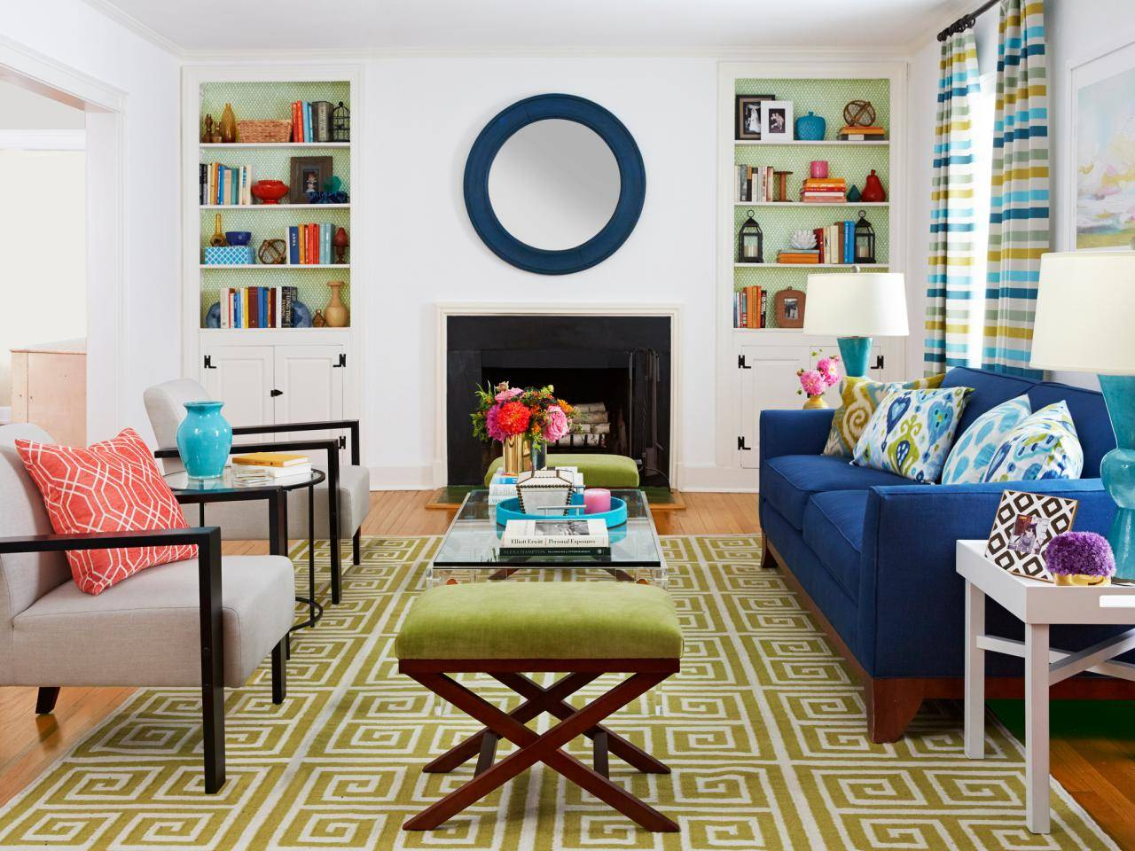 Bright Green Colorful Living Area Blue Couch Pattern Area Rug Cushion Ottoman