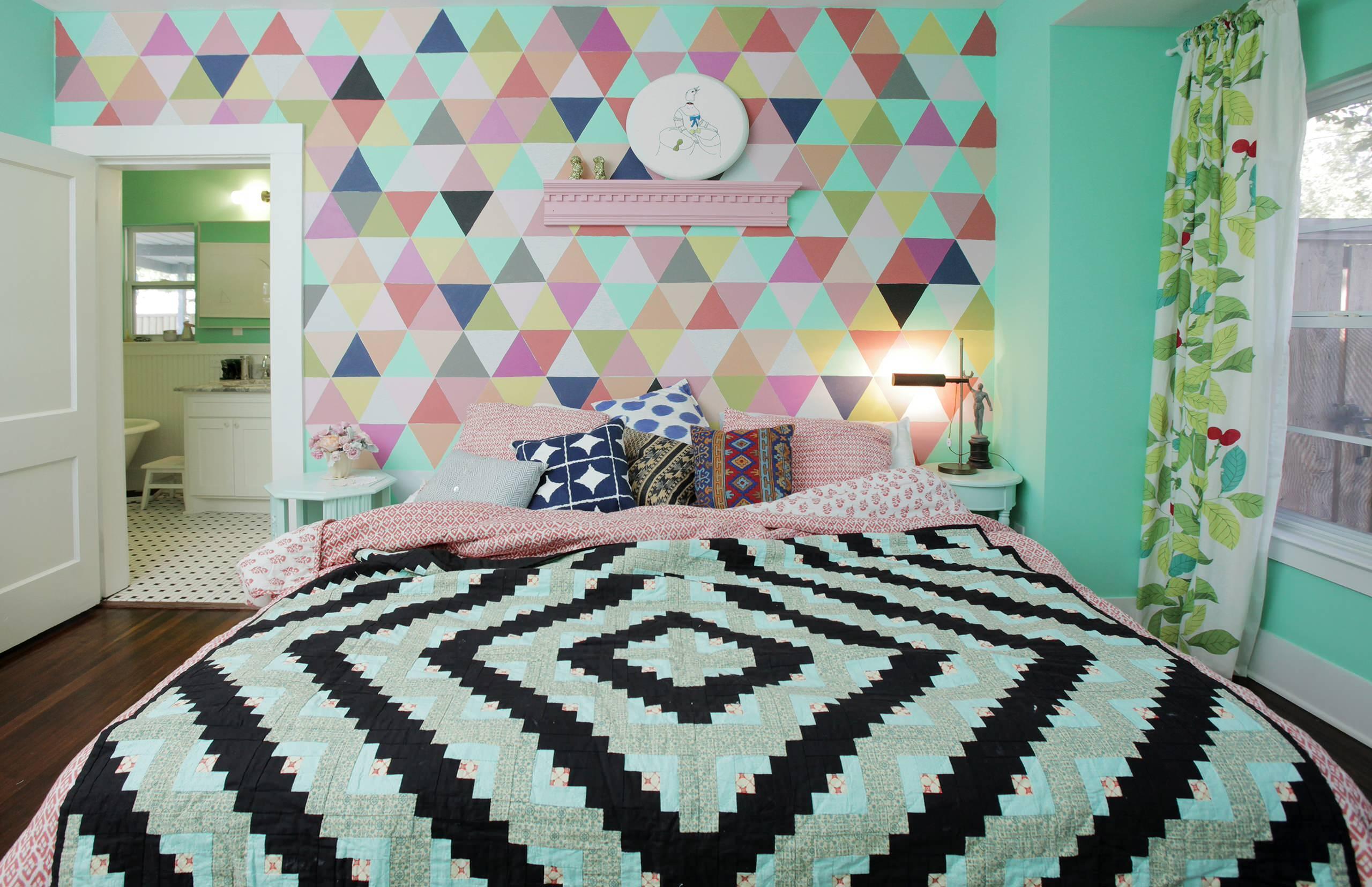 Colorful Accent Wall Bright Aqua Tiffany Blue Bedroom Bright