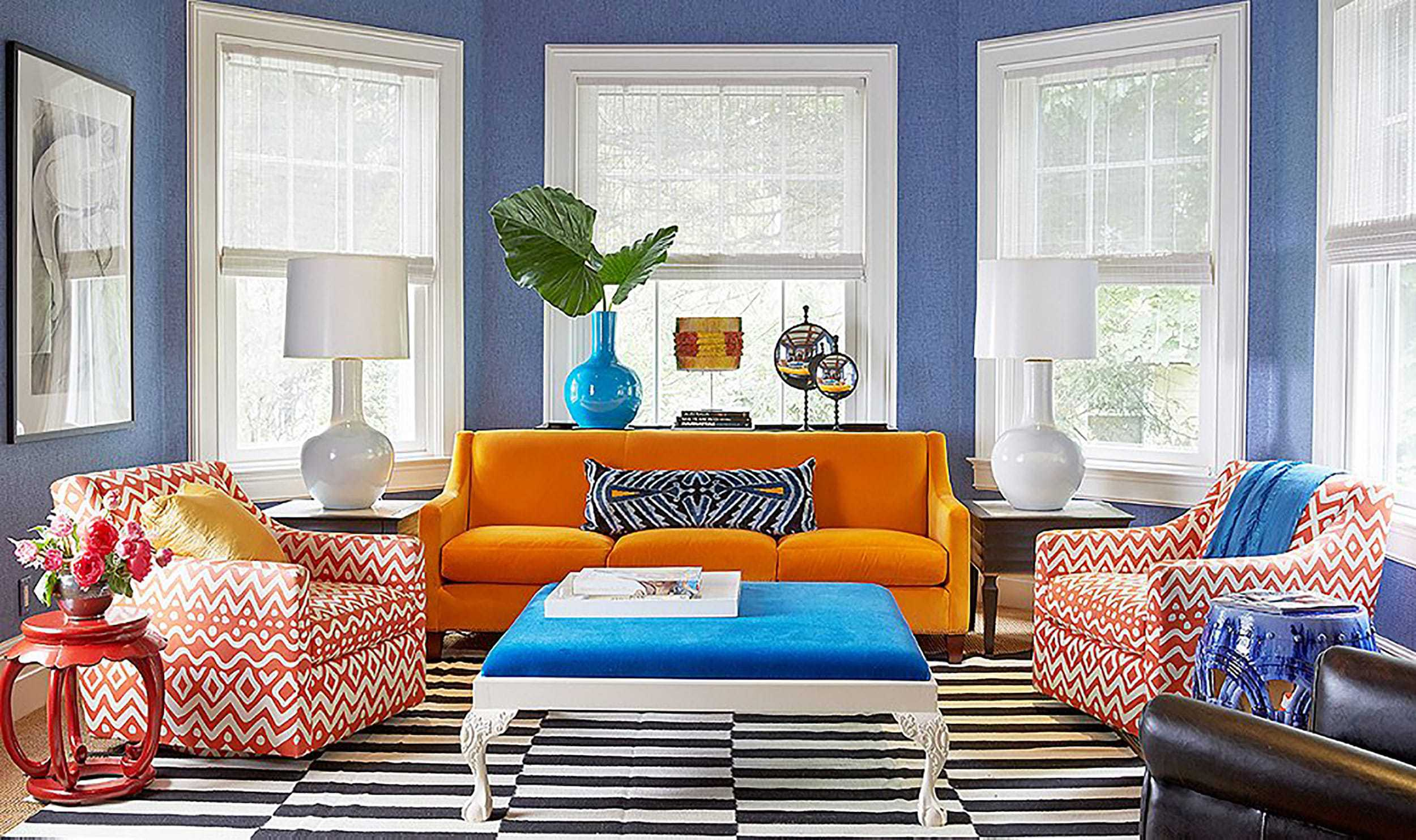 Orange Couch Colorful Living Room Bright Blue Pattern Rug Sofa