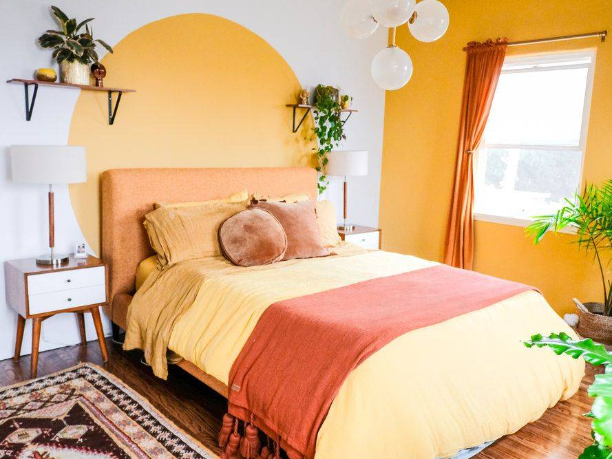 Yellow Accent Wall Bright Statement Colorful Bedroom Boho Chic Mid Century Bed