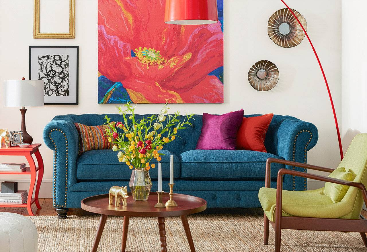 Bold COlorful Blue Couch Bright Living Room Statement Furniture Decor