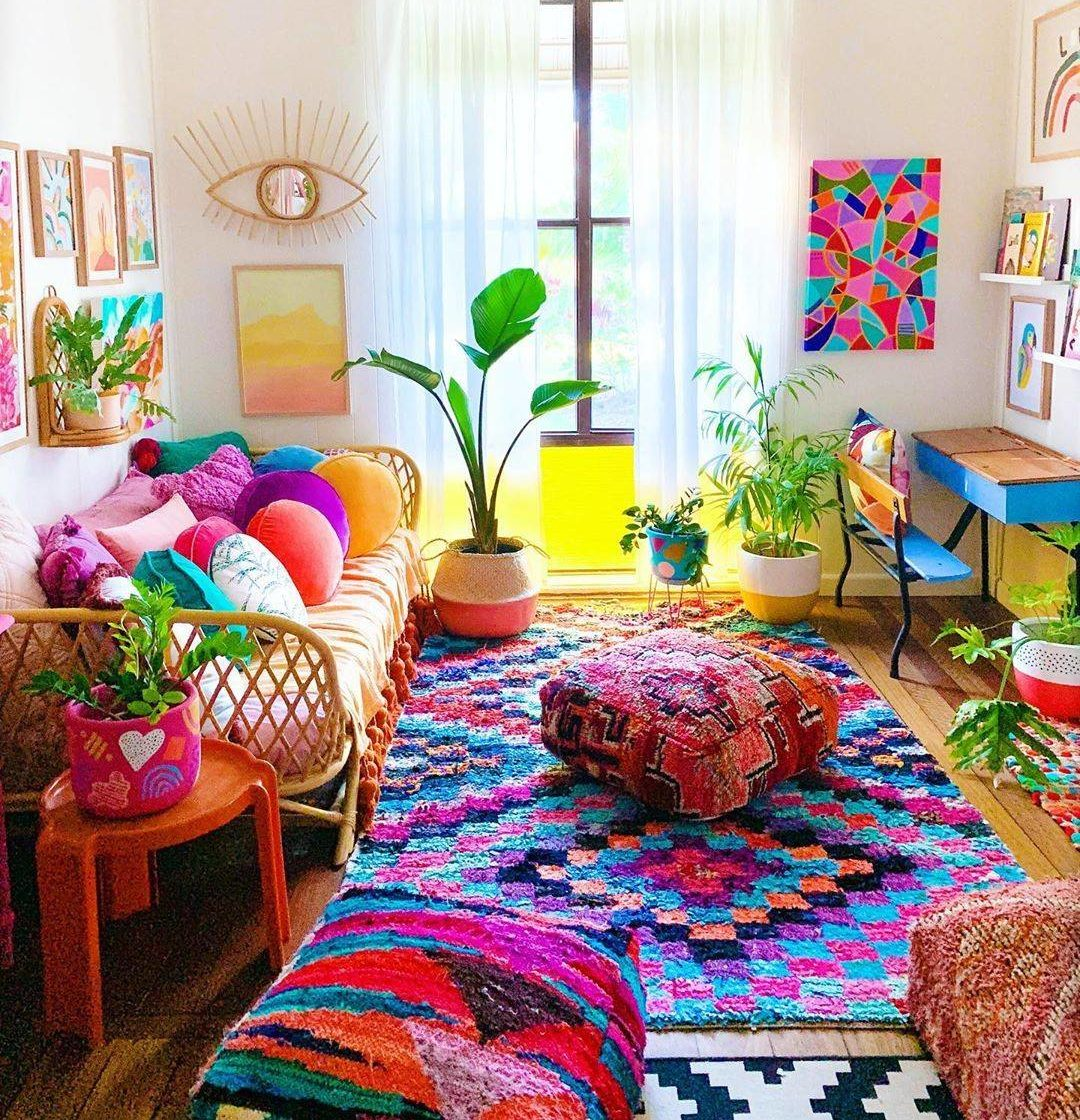 Bright Colorful Bohemian Living Area Colorful Decor