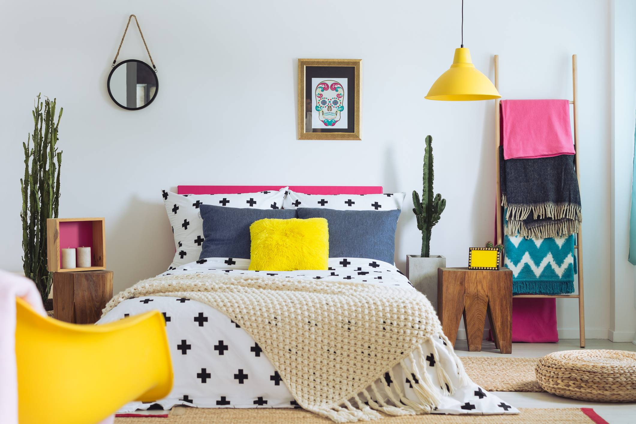 Feminine Bright Colorful Bedroom Polka Dot Bedding Statement Patterns