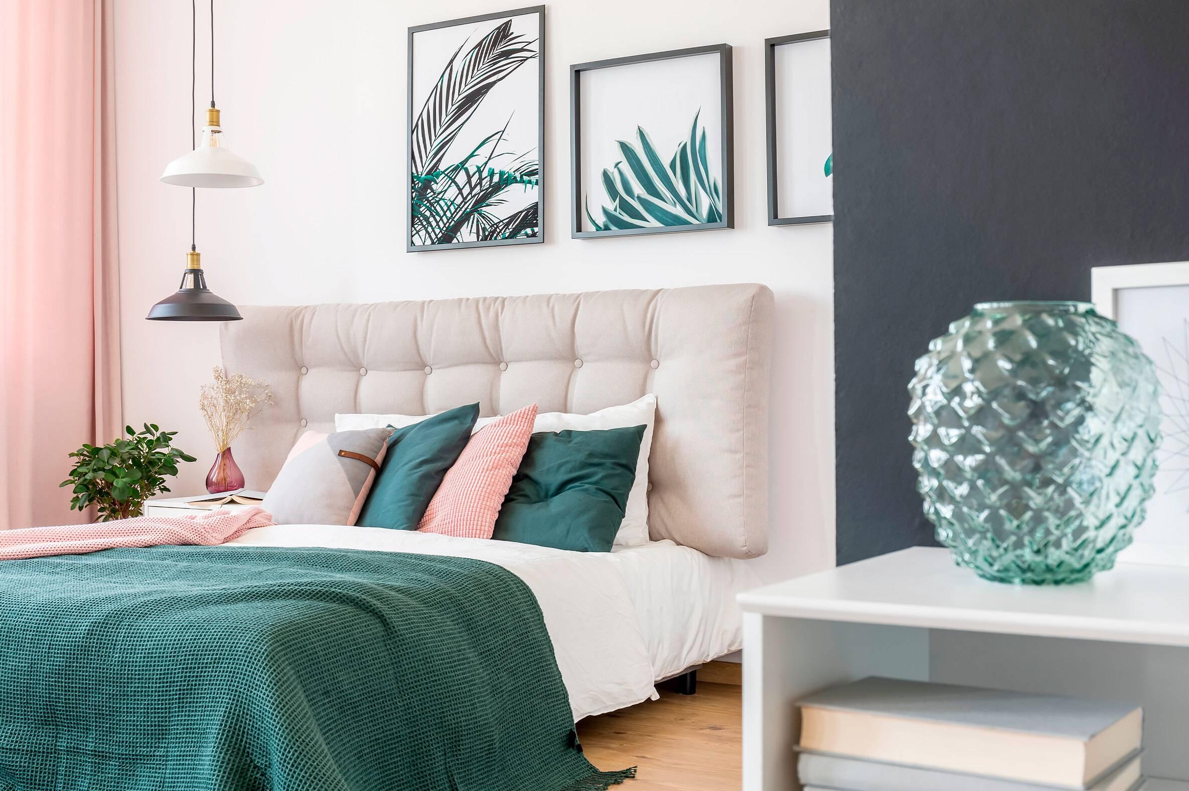 Pink Feminine Beautiful Chic Bedroom Plant Art Green Accents