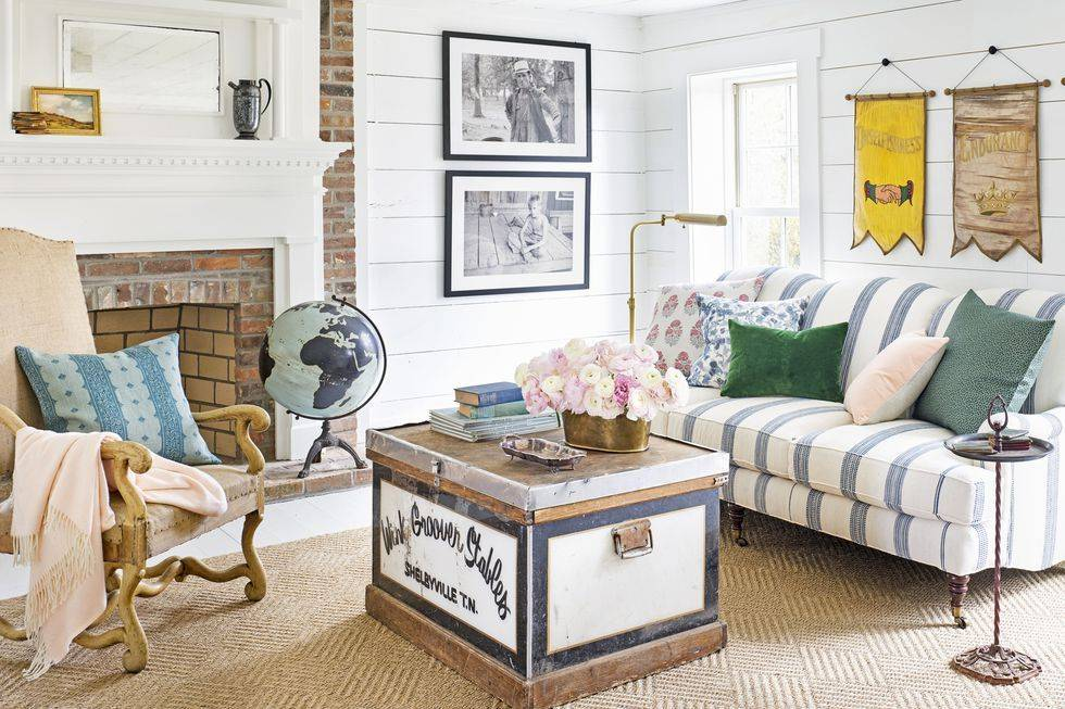 nautical living room with red brick fireplace
