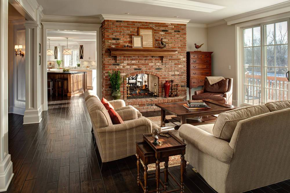 double-side red brick fireplace