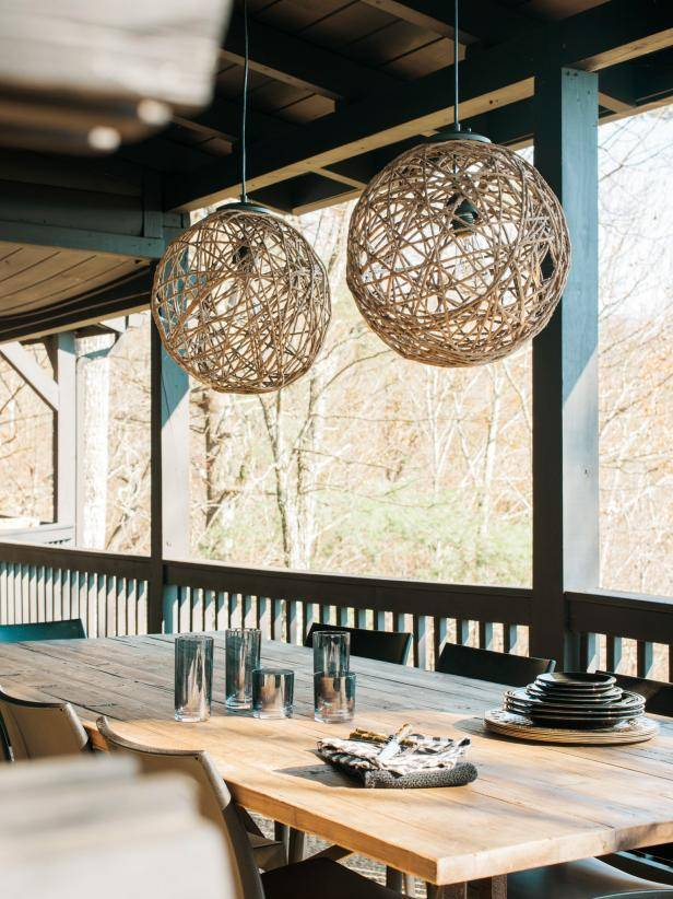 rope lanterns hanging over outdoor table