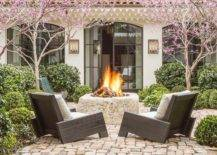 Backyard with fire pit and trees
