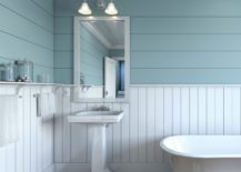 Bathroom interior with vertical and horizontal lines on the wall
