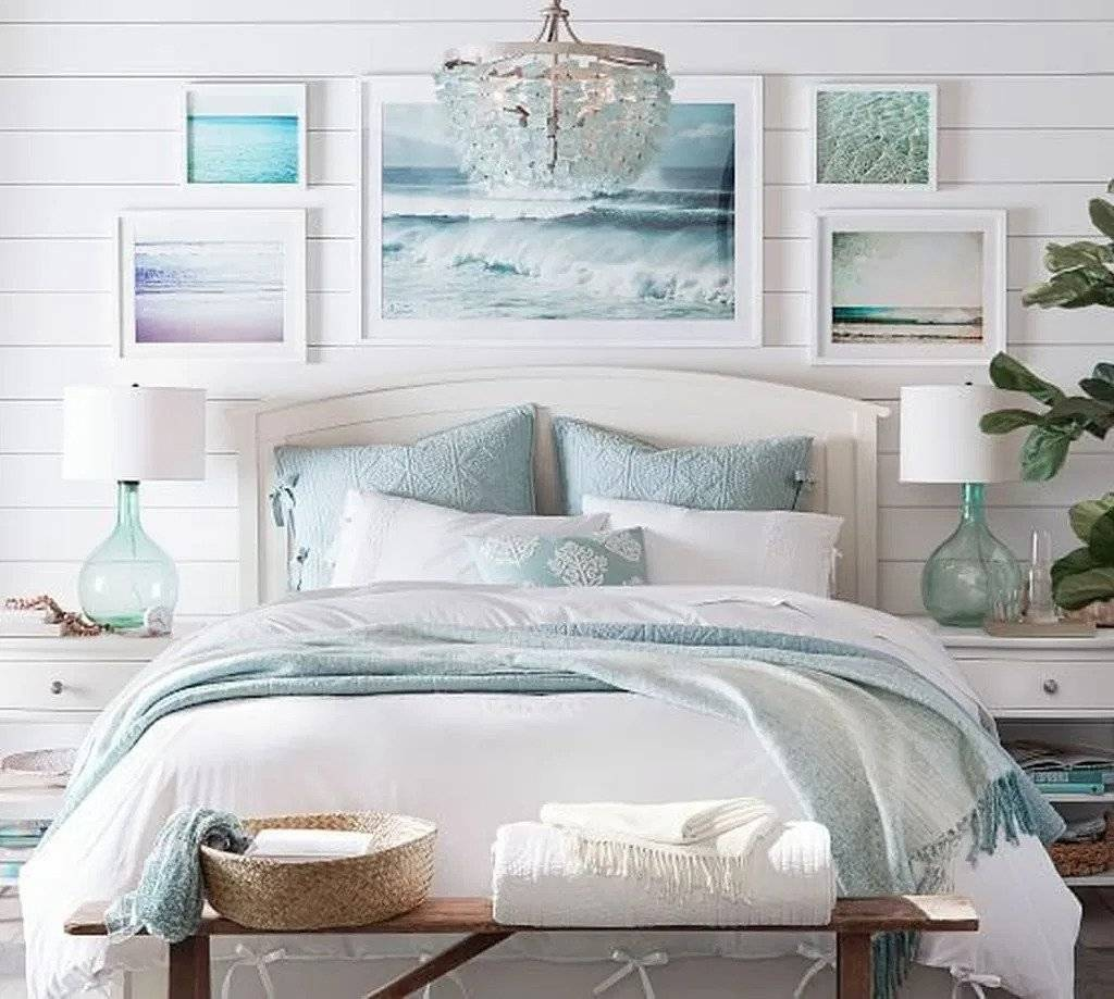 Beach Inspired Picture Frames on Shiplap Wall